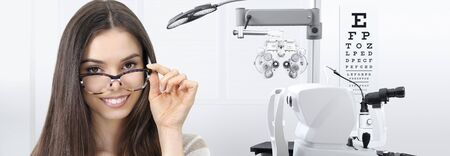 concept of eye examination, woman smiling with spectacles isolated on white background, prevention and control eyesight.