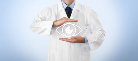 concept of eyes examination, optician hands protecting eye icon, prevention and control, isolated on blue background.