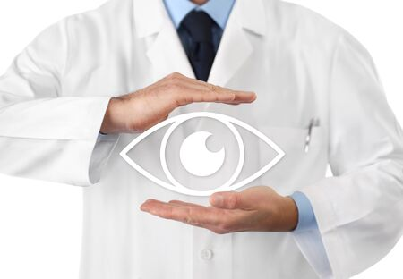 concept of eyes examination, optician hands protecting eye icon, prevention and control, isolated on white background. Stockfoto