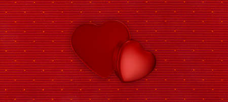 Valentine day gift card background, packages heart shaped boxes, top view isolated on red fabric.
