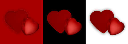 Valentine day, red heart shaped shiny metal packaging isolated on red, black and white background Reklamní fotografie