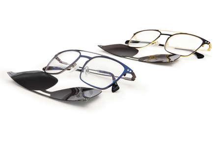 eyewear polarized clip on sunglasses with magnetic lenses isolated on white background