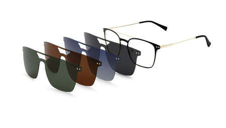 eyewear polarized clip on sunglasses with colored magnetic lenses isolated on white background