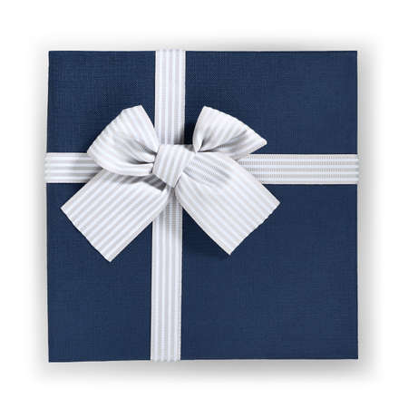 blue color gift box with ribbon and bow isolated on white background, top view