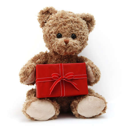 teddy bear with red gift box, present with ribbon bow, isolated on white background Reklamní fotografie