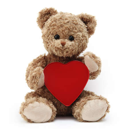 teddy bear with red heart isolated on white background Reklamní fotografie