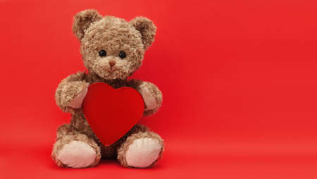 gift card, teddy bear with heart isolated on red background