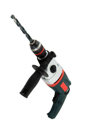 bore: Electric drill isolated over white Stock Photo
