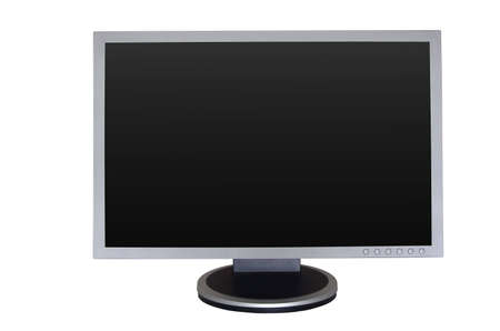 wideview: Big gray wide LCD monitor with empty screen Stock Photo