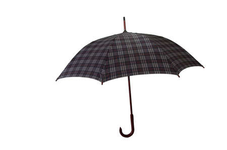open big gray checked umbrella, vintage style, wooden handle photo