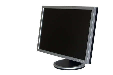 Big gray wide LCD monitor with empty screen photo