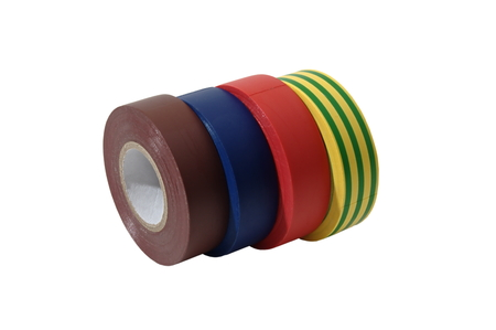 Color insulation tape rolls isolated over white photo