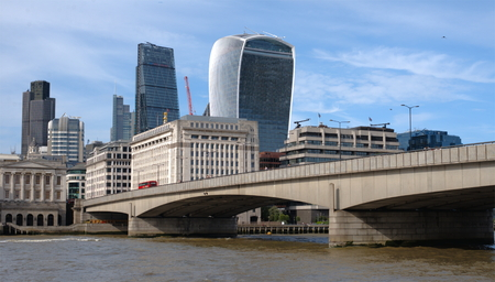 river thames: View on  London bridge from the river Thames bank in London