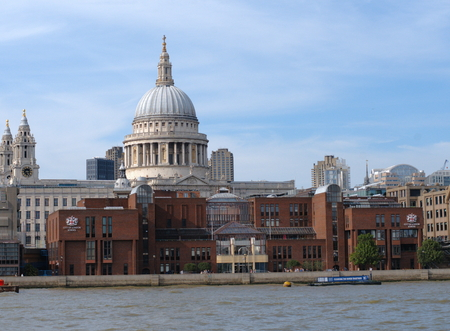 saint pauls cathedral: View on Saint Pauls Cathedral from river Thames bank  in London Editorial