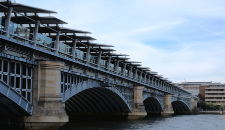 blackfriars bridge: View on Blackfriars railway bridge from the river Thames bank in London