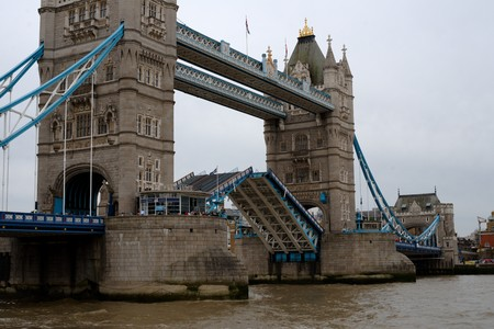 river thames: View on Tower Bridge in London from the north bank of river Thames Stock Photo