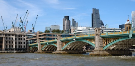 southwark: View on Southwark bridge and river Thames in Lonon from the south bank
