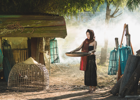 Lifestyle of rural Asian women in the field countryside thailand.Daily life of rural women in Thailand,Asia people at farmland.