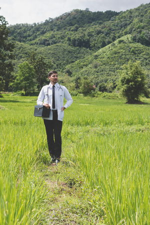 Young docter Pointing Height Destinazione per il futuro nel campo di grano verde Alla ricerca di nuove opportunità di avvio, ospedale per la salute e lo sviluppo della comunità nel concetto di fondo di sviluppo di aree remote.