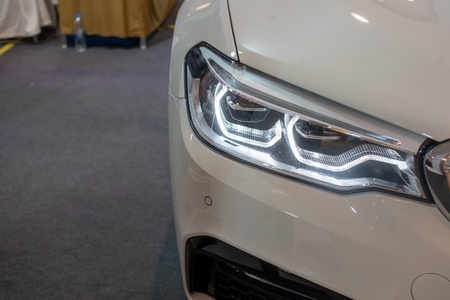 Headlight car Projector Of the white carLED of a modern luxury technology.