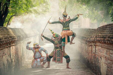 Art culture Thailand Dancing in masked khon(Mime) in literature ramayana,thailand culture Khon,A mime or mime artist is a person who uses mime as a theatrical medium or as a performance art.