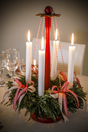 Advent wreath with Christmas lights