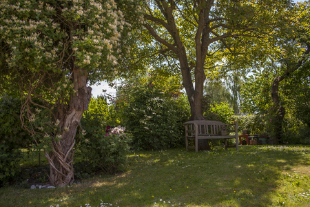 lifestile: cozy garden with flowers of timber on a Danish island Stock Photo