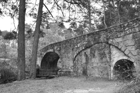 Stone bridge on a path of a forest