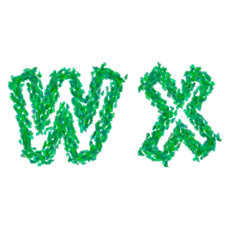 English alphabet made with green leaves, summer theme, letters