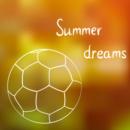 A sketch of the ball on the summer grass in a Sunny summer day, dreaming about summer.