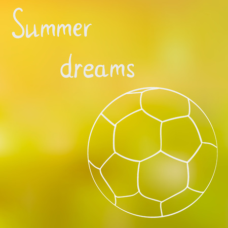 A sketch of the ball on the summer grass in a Sunny summer day, dreaming about summer, summer time.