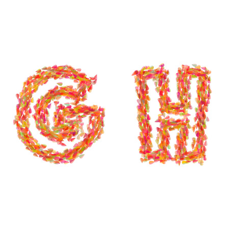 alphabet tree: The letters G, H made of autumn leaves. Illustration