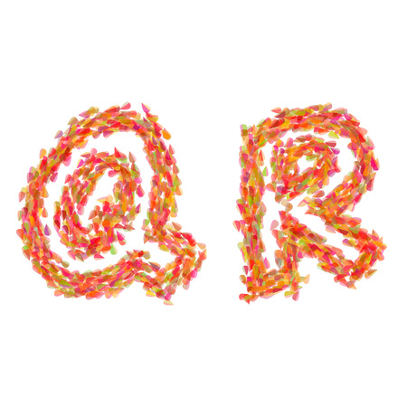 The letters Q, R made of autumn leaves.