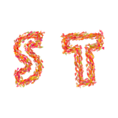 The letters S, T made of autumn leaves. Illustration