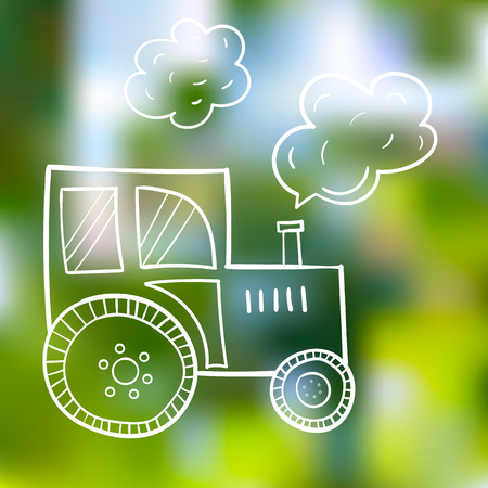 Hand-drawn tractor, in a cartoon style, the primitive subjects of agriculture, black contour on summer background.
