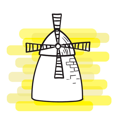 A windmill on a bright background, a black outline, the subject of agriculture.