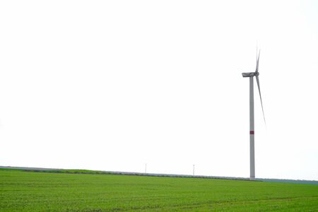 Beautiful spring greenery. Wind turbine in a green field, space for text.