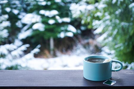 Menthol tea cup on wooden railing and forest background, space for text.