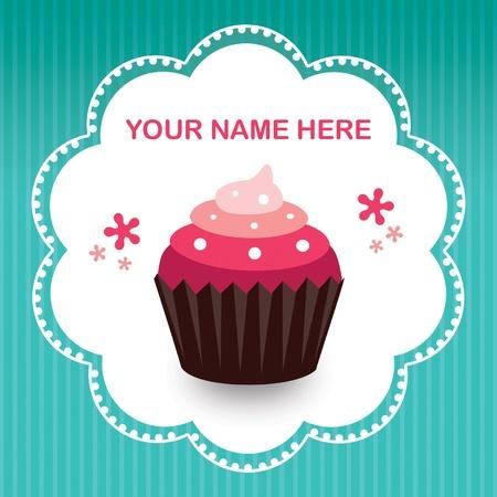 fond: Cup Cake rose dans son moule marron sur fond bleu
