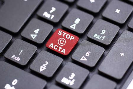stop acta keyboard Stock Photo - 12639907