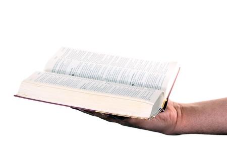 worshipper: Praying hand hold an open bible Stock Photo