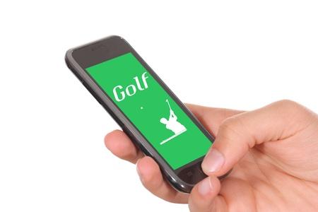 hand held: tenuto in mano lo sport cellulare golf