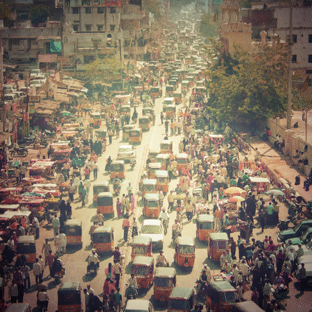 crowd of people: Crowded street in India