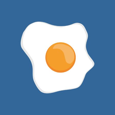 Fried Egg Illustrations On Blue Background. Fried Egg Flat Icon