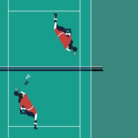 Playing badminton vector template