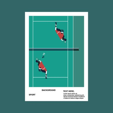 Sports poster with playing badminton background. Vector.