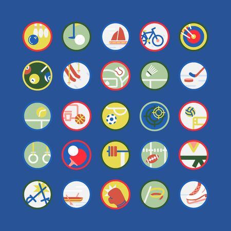 Set vector illustration of sports equipment with flat elements.