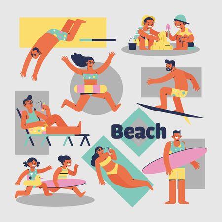 Activities of people on the beach vector cartoon characters Vetores