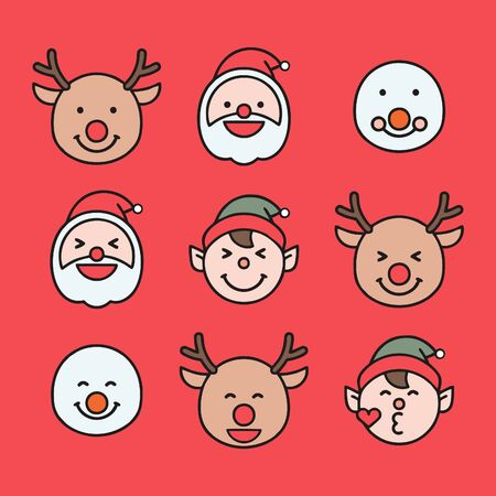 Santa, Rudolph reindeer, elf and snowman emoticon set isolated