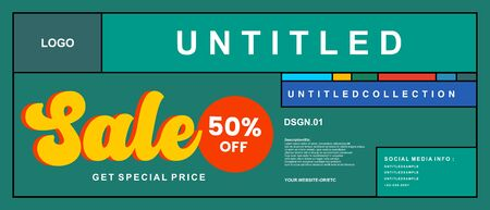 Geometric colorful sales banner discount 50% off. Promotion flyer, discount voucher template special offer market brochure